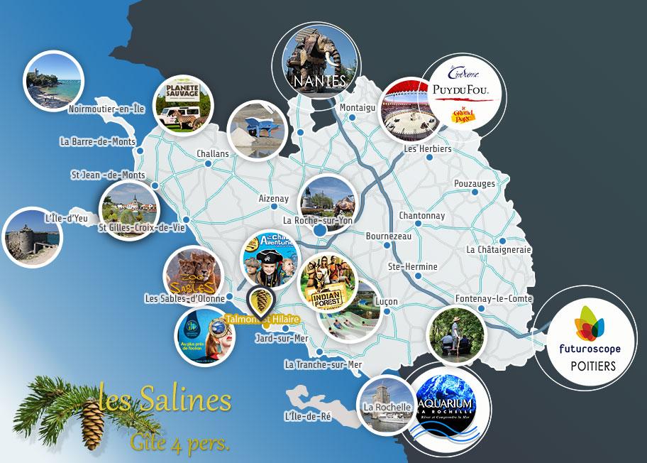 Carte de la Vendée - Gite les Salines